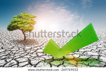 tree and true icon on soil cracked ,earth day concept - stock photo