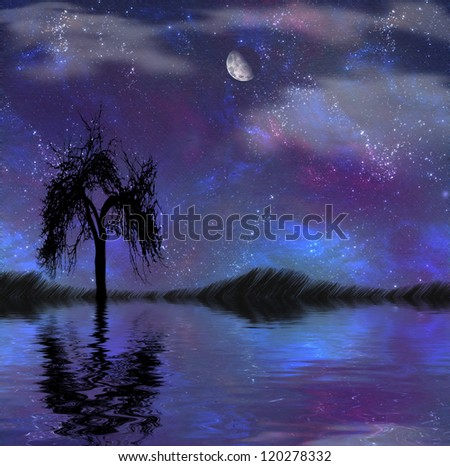 Tree and water painting - stock photo
