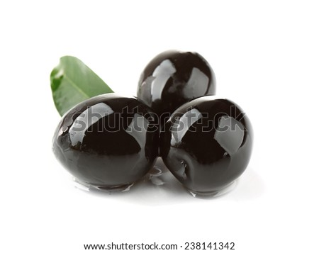 Tree black olives with leaf isolated on white - stock photo