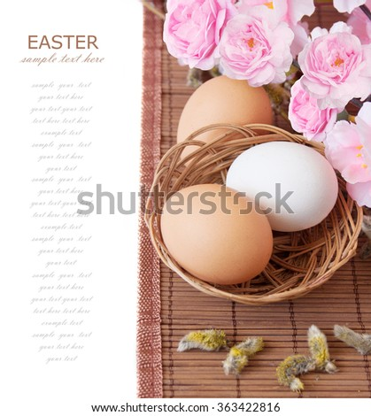 Tree blossom flowers and easter eggs isolated on white background. Easter concept - stock photo
