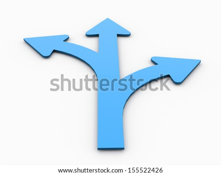 Tree blue arrows concept isolated on white background - stock photo