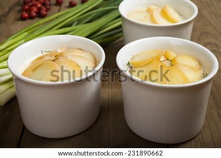 Tree bowls with Swedish fish food - luxpudding - stock photo