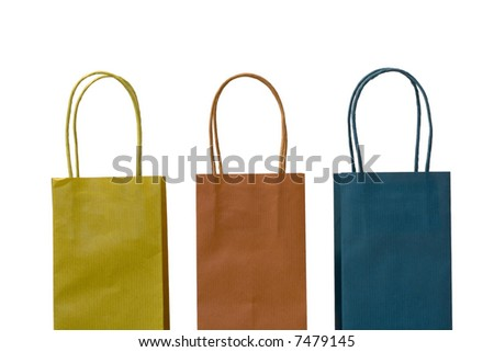 tree color empty bags isolated on white - stock photo