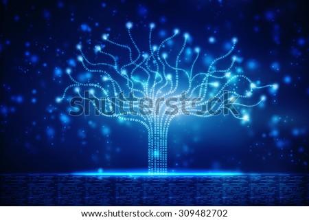 Tree consist of binary code - stock photo