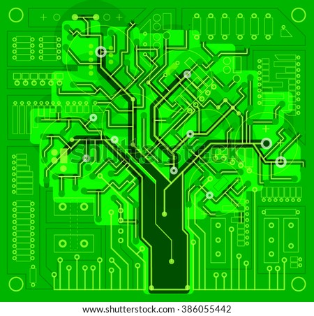 tree, electronics, circuit board, green