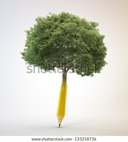Tree growing out of a pencil - creativity concept - stock photo