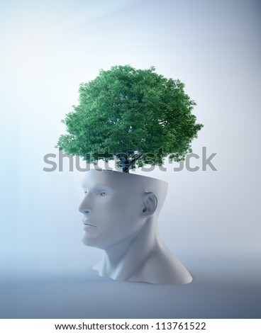 Tree growing out of an abstract  head - creativity and psychology concept illustration