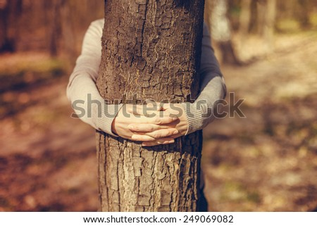 Tree hugging. Hands hugging tree - stock photo