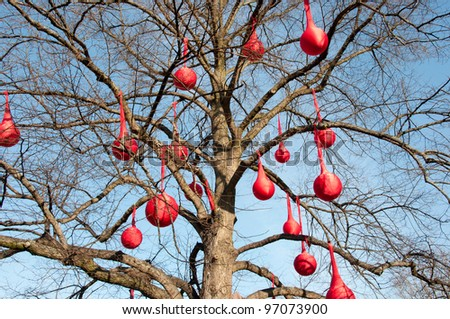 tree in the red - stock photo