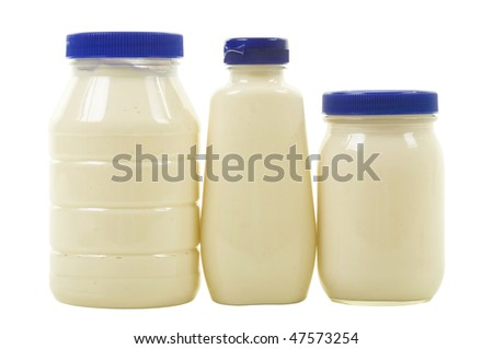 Tree jars with mayonnaise; isolated, clipping path included