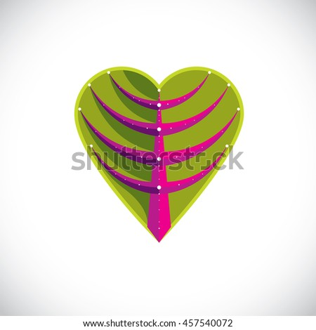 Tree leaf made in the shape of heart, botanical element created in modern cubism style. Care about nature and ecology theme illustration. - stock photo