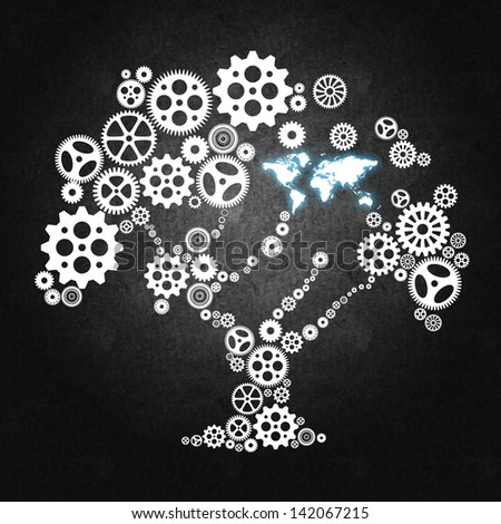 Tree made of wheels and gears, a concept for business, teamwork, management and leadership