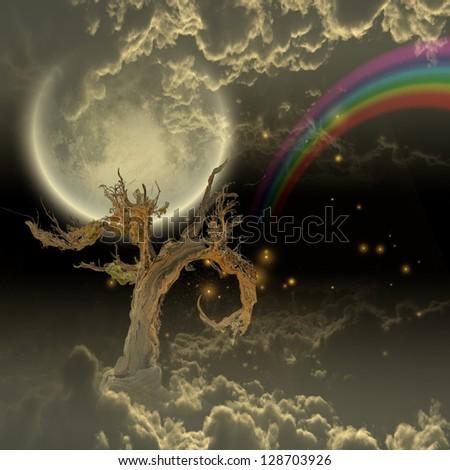 Tree moon stars and rainbow - stock photo