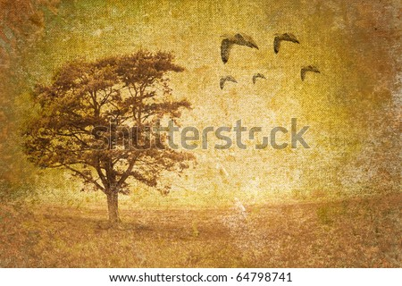 tree motive on old vintage background, can be use as stationery paper - stock photo