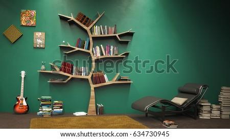 Tree Of Knowledge Bookshelf 3d Illustration