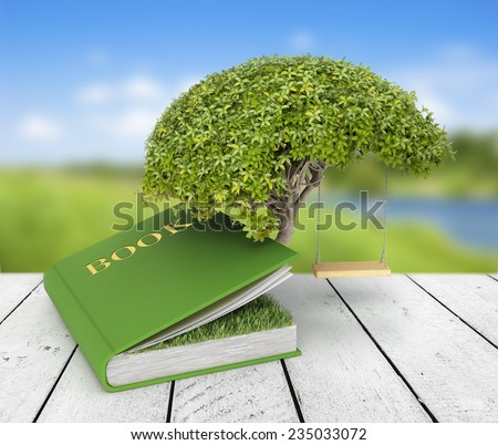 Tree of knowledge growing out of book on the nature background - stock photo