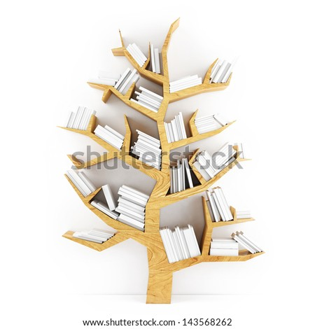 Tree of Knowledge, Wooden Shelf with White Books Isolated on White Background - stock photo