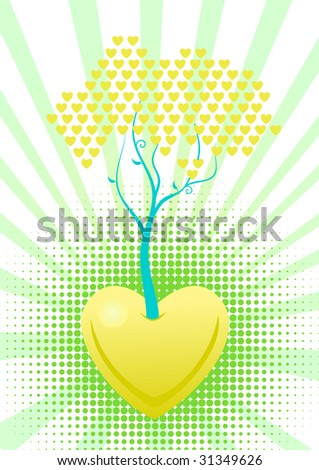 Tree of love with green hearts. Vector in my portfolio - stock photo