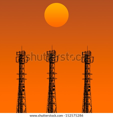 tree of Telecommunication tower in sunset day in the orange sky - stock photo