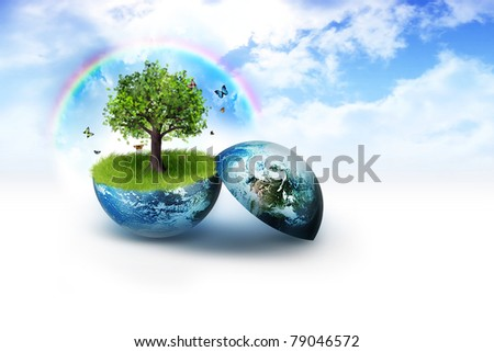 tree on earth against a background of bright clouds - stock photo