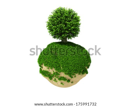 tree on green planet - stock photo