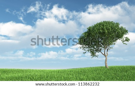 Tree on the grass - High quality render - stock photo