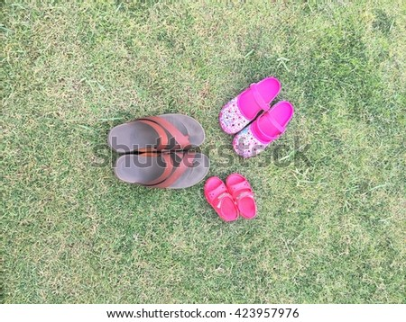 tree pair of shoes on the grass park, soft focus  - stock photo