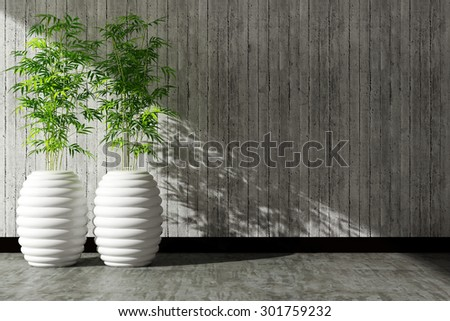 tree pot and concrete wall interior decorated - stock photo
