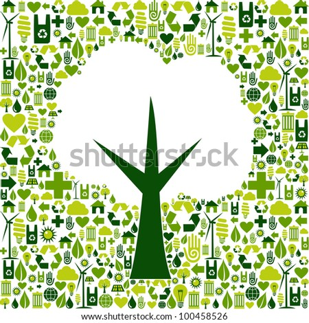Tree silhouette made with green icons collection. - stock photo