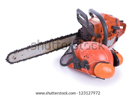 tree surgeon tools on white, chainsaw, helmet with shield and ear defenders - stock photo