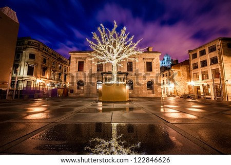 Tree surrounded by decorative lights for Christmas among buildings of Old Montreal and part of the reflection of the tree in the water in the foreground at night - stock photo