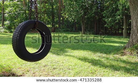 Superbe Tree Tire Swing Wooded Yard Scene   Tire Swing Hangs From A Tree In A Wooded