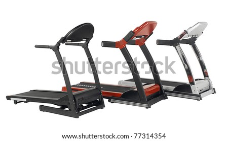 Tree treadmill exercise tool in the gyms isolated on white - stock photo