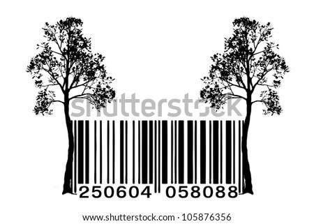 Tree vector barcode - stock photo