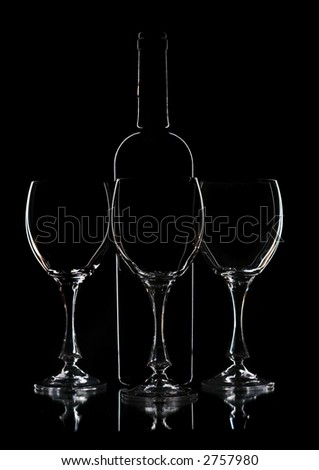 tree wine  glasses and bottle contour - stock photo