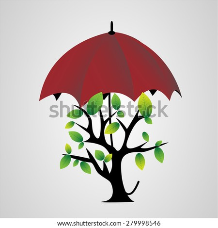 tree with black stem and green leaves hidden under a red umbrella on a white background - stock photo