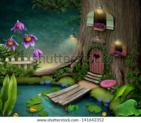 Tree with  door and windows near  pond. Illustration or  poster, postcard. Computer graphics. - stock photo