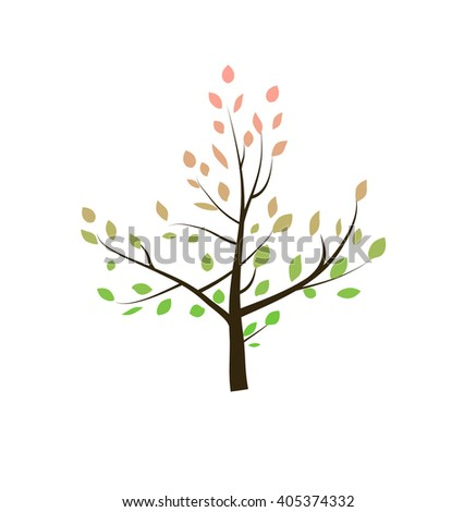 tree with red foliage leaves. Fall time of the year, spring, summer. tree on a white background. Banner nature design element - Eco and bio icon . illustration. - stock photo