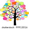 Tree With Speech Bubble, Isolated On White Background. Illustration - stock vector