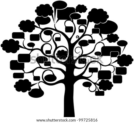 Tree With Speech Bubble, Isolated On White Background.  Illustration - stock photo
