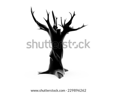 Tree without leafs 3D render on white background isolated - stock photo