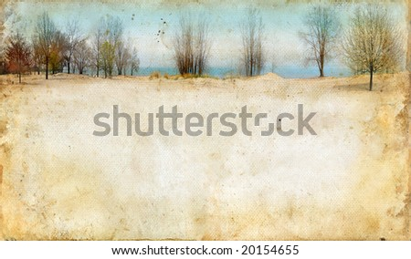 Trees along the lake on a grunge background. Copy-space for your text.