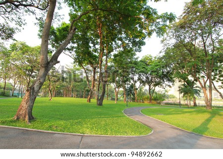 Trees and green grass field in the park - stock photo