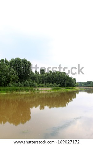 trees and river natural scenery, north China - stock photo