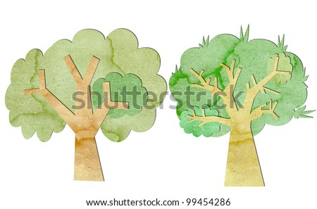 Trees are made from recycled paper. - stock photo