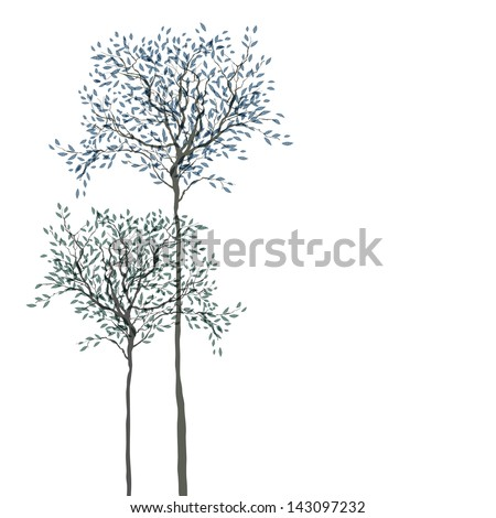 Trees background. The trunk and leaves in separate layers. Raster version, vector file available in portfolio. - stock photo