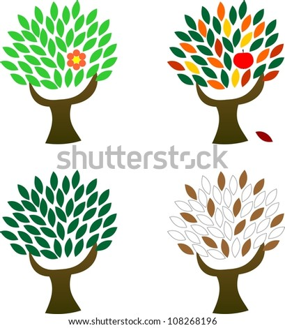 trees in four seasons - stock photo