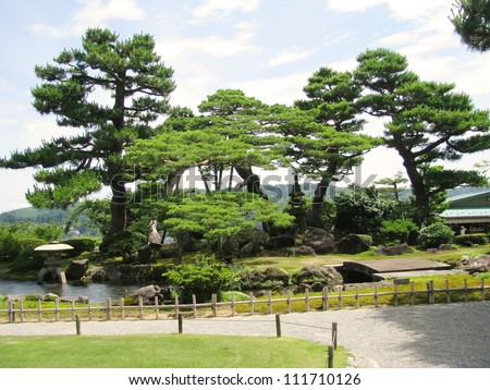 Kenrokuen garden stock images royalty free images for Most beautiful garden trees