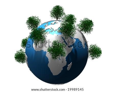 trees on globe - stock photo