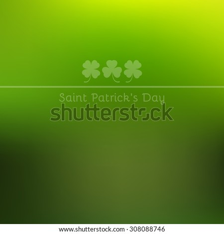 Trefoil and quatrefoil on green blurred background. Raster copy of vector file. - stock photo